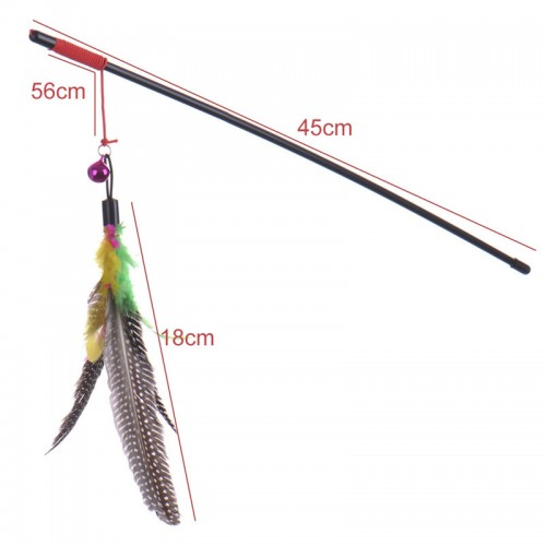 Top quality Pet cat toy Cute Design bird Feather Teaser Wand Plastic Toy for cats Color