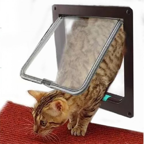 New Medium Large White Brown 4 Way Magnetic Lockable Pet Cat Dog Safe Flap Door
