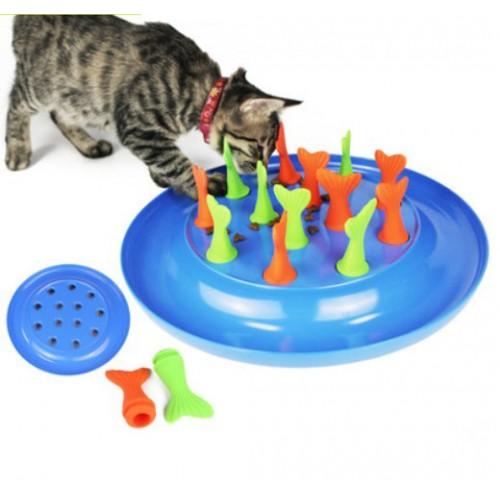 Fish Tail Pet Cat Feeding Food Bowl Slow Down Eating Feeder Dish Bowel Prevent