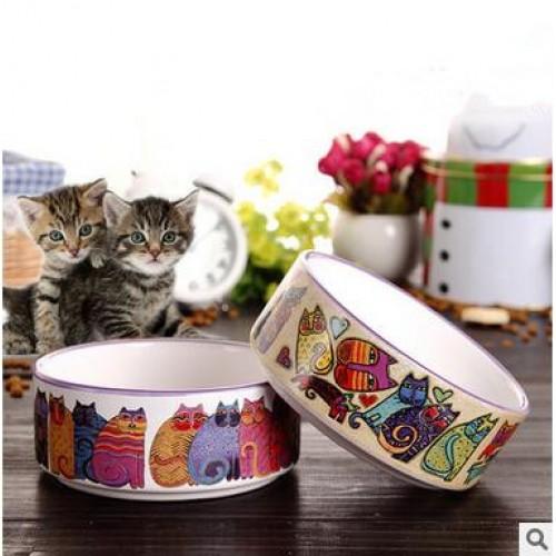 Pet Cats Water Bowls Cartoon Ceramics Bowls Travel Camping Drill Food Water Feeder