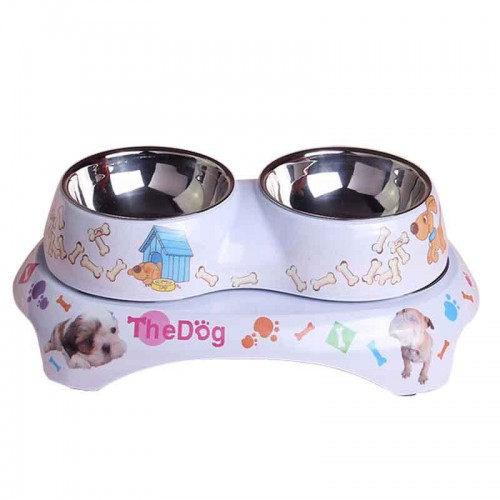 Pet tableware Double round pet bowl small confidential amine tableware stainless steel