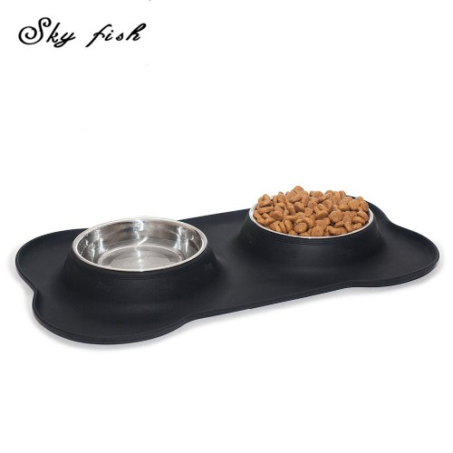 Skyfish Bone Shape Silicone Stainless Steel Double Bowl Anti skid Cat Food Water Bowl