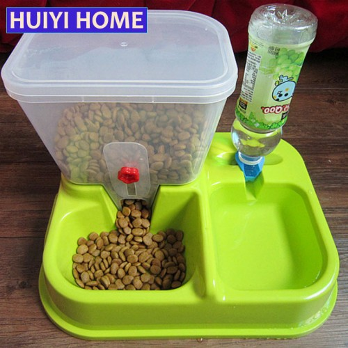 Home Large Adjustable Automatic Pet Feeder Drinking Fountains Dog Bowl Water Dispenser For Dogs