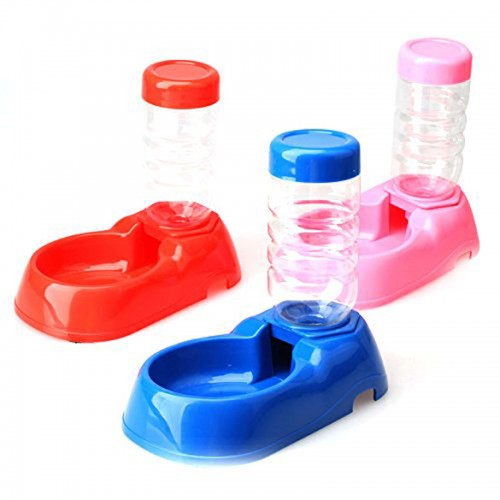 Pet Dog Kitten Automatic Water Dispenser Food Dish Bowl Feeder Bottle