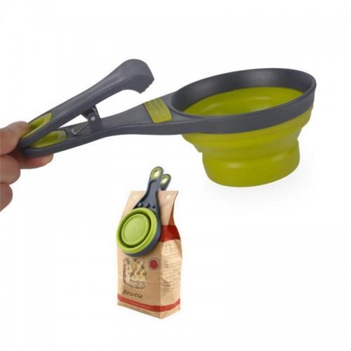 Sealing Clip Food Storage Collapsible Pet Dog Food Scoop Spoon Measuring Cup Bag