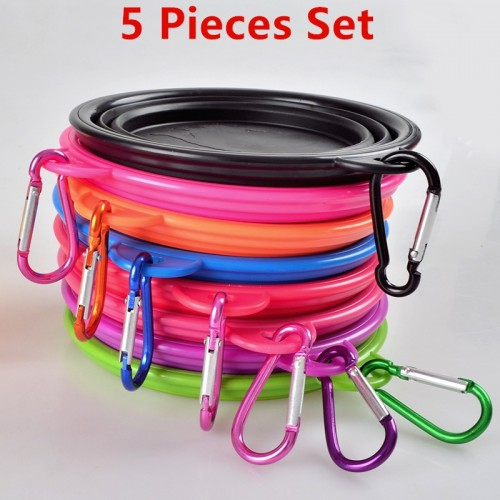 Silicone Collapsible Foldable Dog Bowl Outdoor Portable Feeder Water