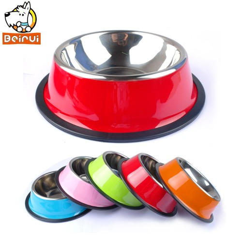 Stainless Steel Dog Bowl Pet Puppy Dogs Food Drink Water Dish Feeder For Puppy