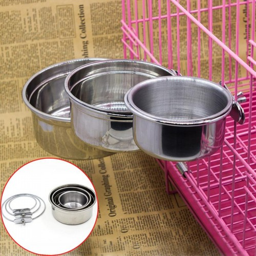 Stainless Steel Food Water Bowl for Crates Cages Dog Pet