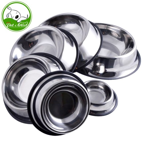 Stainless Steel No Slip Pet Puppy Dog Food or Drink Water Bowl