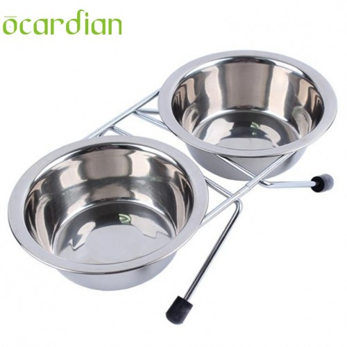 Stainless Steel Pet Dog Puppy Travel Feeding Feeder Food Bowl Water Dish Dog Feeders