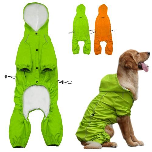 Pet Dog Hooded Raincoat for Medium to Large Dogs Reflective Dog Waterproof Rain Coat Jacket