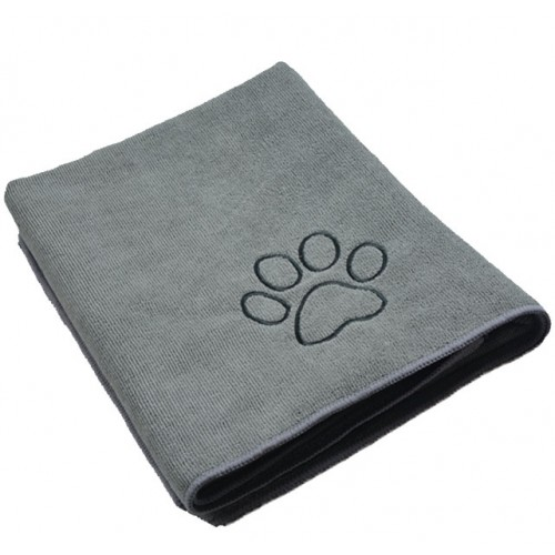 Ultra Absorbent Microfiber Pet Towel with Embroidered Paw