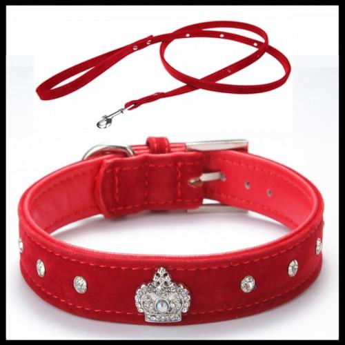 Adjustable necklace Rhinestones Pet Dog Crown Collar Soft Velvet Leash and Collar