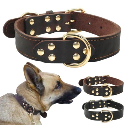 Black Genuine Leather Working Dog Pet Training Collars Heavy Duty