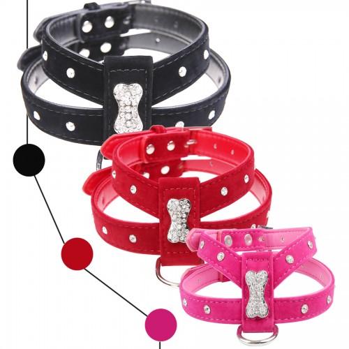 Bling Rhinestone Bone Velvet Leather Pet Puppy Dog Collar Harness Teacup Care