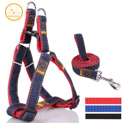 Colorful Jean Denim Leash Harness Dog Collar Chain