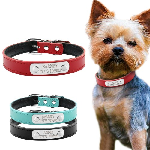 Leather Personalized Dog Collars Custom Pet Name ID Collar Engraving For Small Medium Dogs