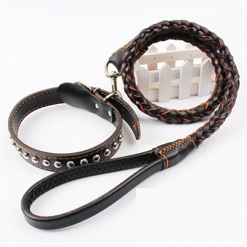 Leather Pet Supplies Rivet Collar Adjustable Leash
