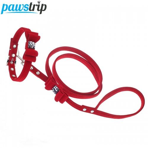 Outdoor Pet Walking Lead Bow Design Soft Velvet Small Dog Collar