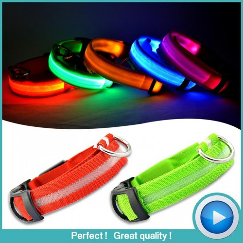 Pet Led Dog Collars For Dogs Pets Cats Glow Led Collars Flashing Light Up Nylon Collar