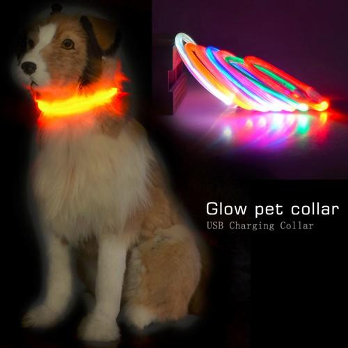 Popular USB Luminous Dog Pet LED Collar Flashing Light USB Charging Collars Flash Night Safety