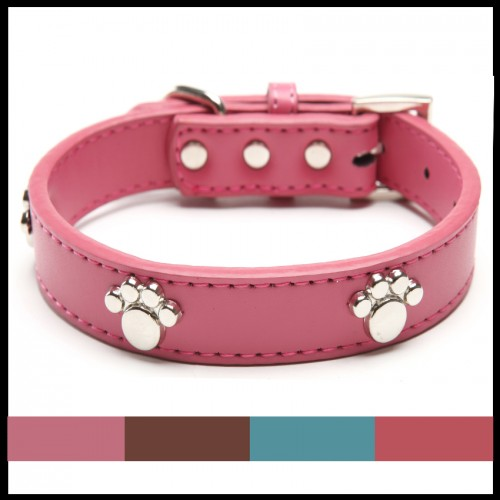 Real Leather Paw Cut Puppy Collars Adjustable Necklace Studs Pet Cat Dog Collars