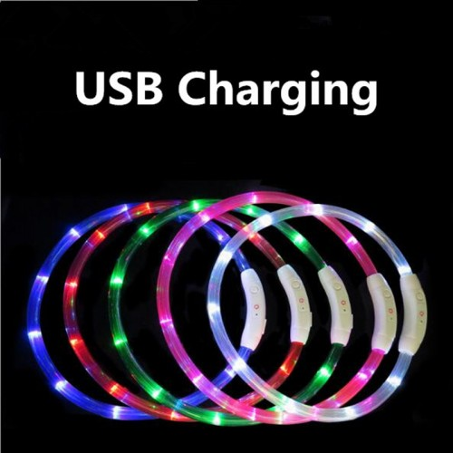 Rechargeable Flashing Night Dog Collars USB luminous pet collar led light USB charging dog collar glowing