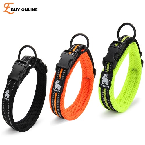 Reflective Dog Collars Adjustable Pet Cat Dog Collar Outdoor Trainning Soft Air Mesh Padded