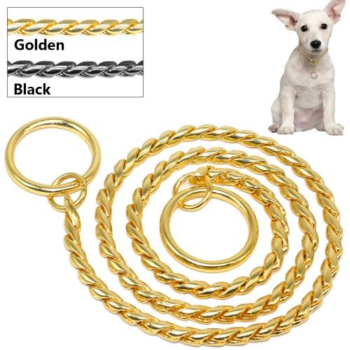 Snake Chain Dog Show Collar Heavy Metal Chain Dog Training Choke Collar Strong Chrome or Gold