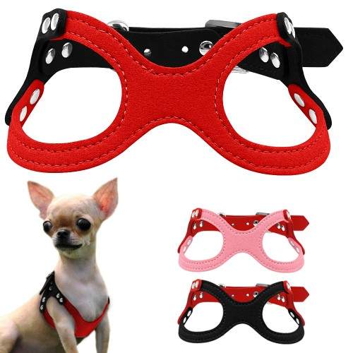 Soft Suede Leather Small Dog Harness for Puppies Red Pink Black Ajustable Chest