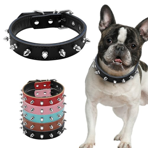 Spiked Studded Padded Leather Dog Collars For Small Medium Dogs Pitbull Terrier