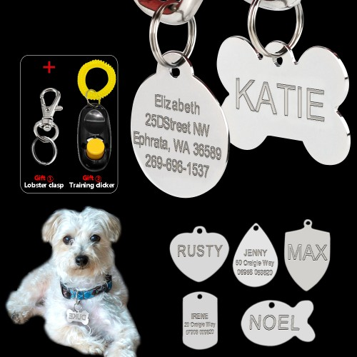 Stainless Steel Custom Engraved Dog Tag Double Sided Personalized Dog Cat ID Tags