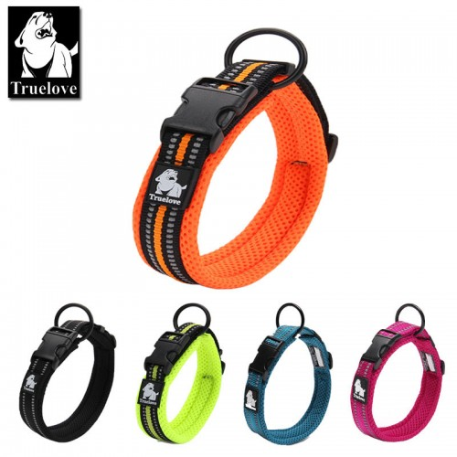 Truelove Adjustable Mesh Padded Pet Dog Collar  Reflective Nylon Dog Collar Durable Heavy Duty