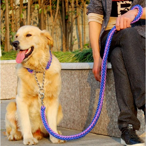 Upgraded color collar stereotyped rope Large Dog Leashes Pet Traction Rope Collar
