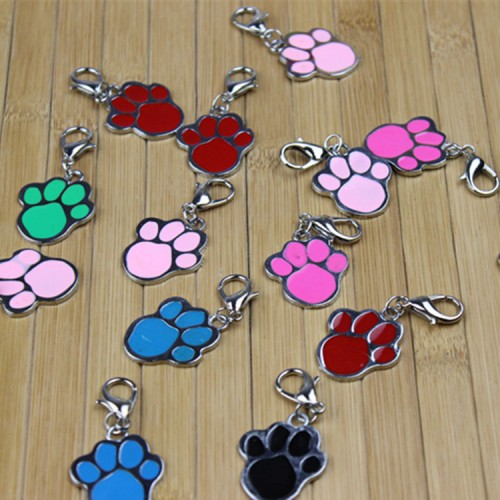 Dogs ID Tag Hangtag Stainless Steel Footprint Dog Tag Hang Tag Pet Supplies
