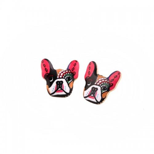 Pendientes Memorials Metal Brass Double Stud Earrings Set Souvenirs Dogs and Brincos Set