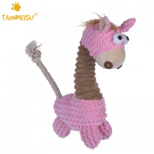 Cute Little Horse Stripe Design Dog Toys Soft Warm Pets Cat Puppy Chew Squeaker Toy