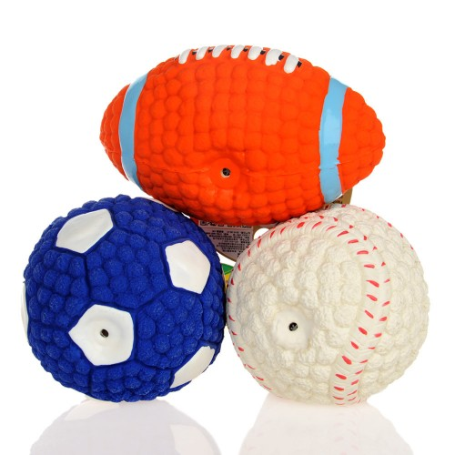 Cute football pet dog cat Sound toy dog squeakers squeaky toy healthy rubber Labrador dog chew