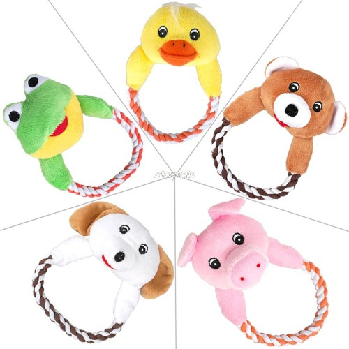 Dog Puppy Plush Toys Interactive Pet Puppy Chew Squeaker Squeaky Sound Duck Frog