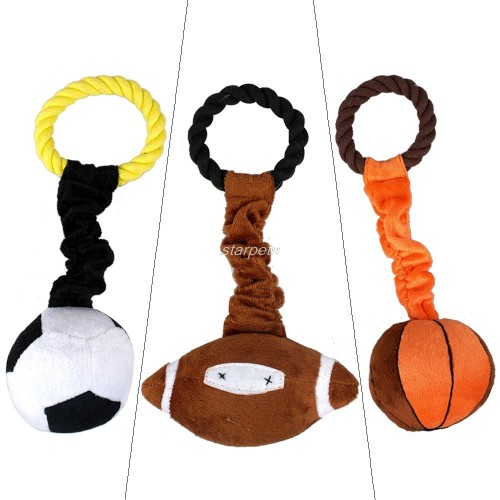 Sport Pet Plush Cotton Braided Rope Ball Dog Playing Squeaker Toy