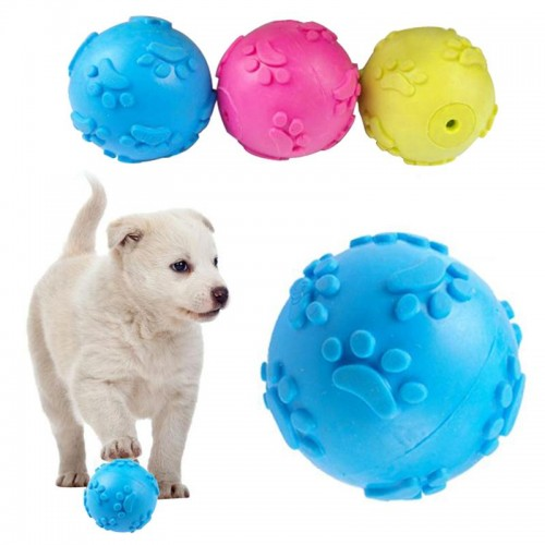 Teeth Bite Rubber Dog Cat Play Ball Products Interactive Toys