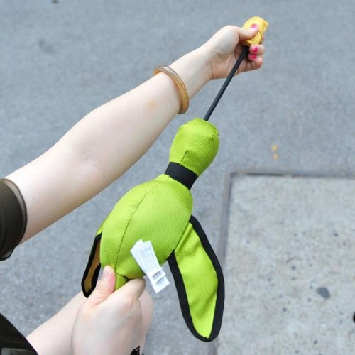 bungy neck launches duck up to feet slingshot duck flying dog toy