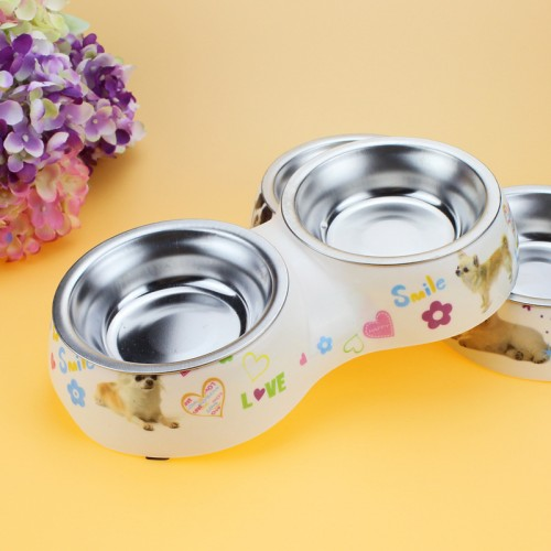 Dog Feeder Double Removable Stainless Steel Dog Bowl With Melamine Plastic Base Pet Dinner Dish Feeding