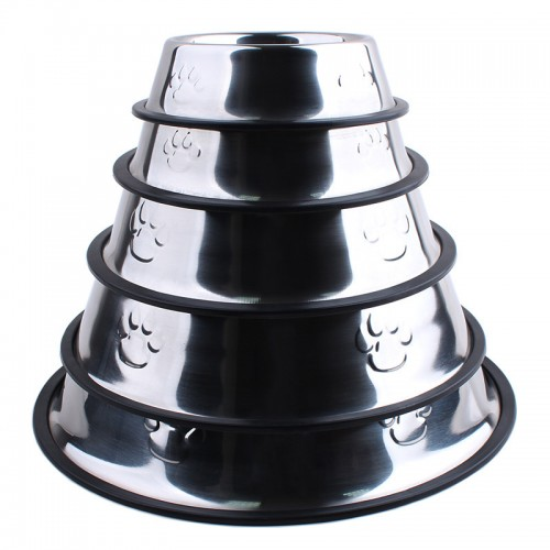 Dog bowl Food basin Pet Feeders Pet advanced Water Bowl Stainless steel with footprints Dog Supplies