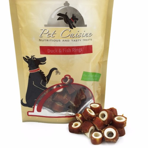 Pet Cuisine Dry Dog Food Training Snacks Puppy Chews Natural Duck Fish Rings 100g