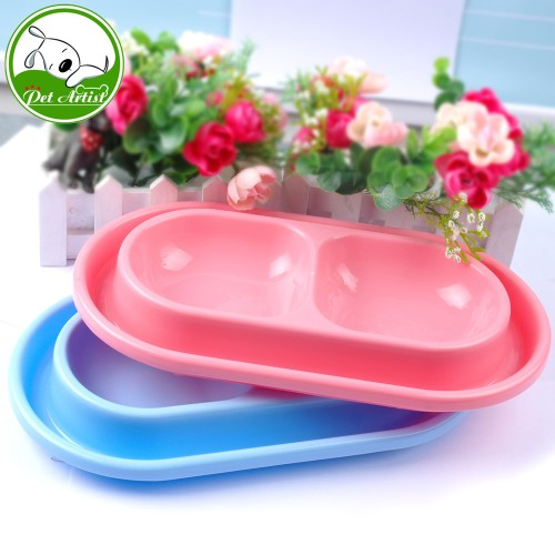 Plastic Double Dog Bowl Anti Ant Pet Feeding Watering Suppies Bowls Drink Food Dish