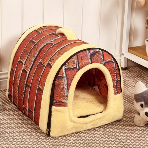 Dog House Nest With Mat Foldable Pet Dog Bed Bed House