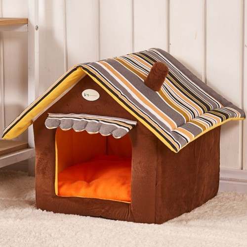 Fashion Striped Removable Cover Mat Dog House Dog Beds For Small Medium Dogs