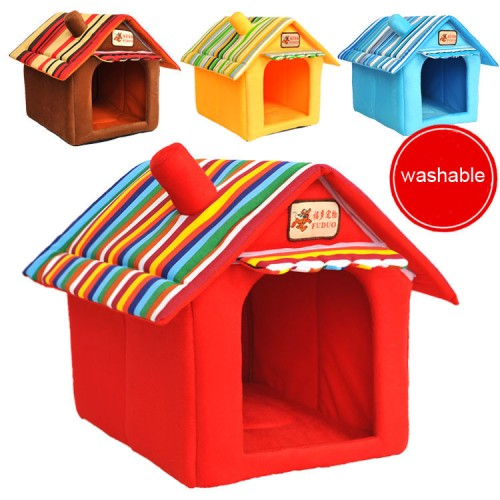 Four seasons washable samll pet bed dog tent house Kennels for small dog Soft strip
