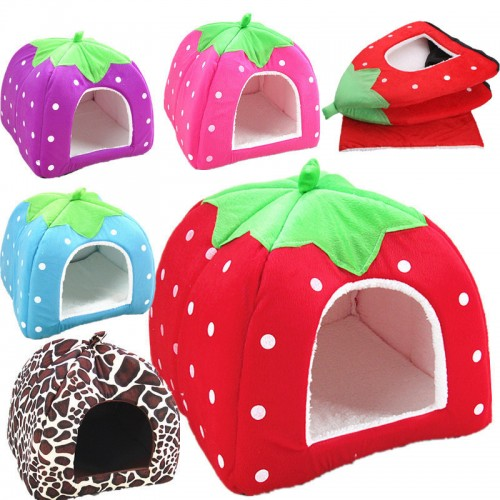 New Pet Supplies Dog House Soft Strawberry Cat Rabbit Bed House Kennel Doggy Warm